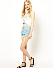 Jovonnista Denim Shorts With Spike Embellishment