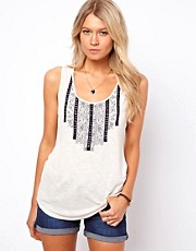 Oasis Embroidered Slub Vest