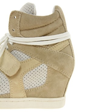 Image 2 ofAsh Cool Suede Colourblock Strapped Wedge Trainers