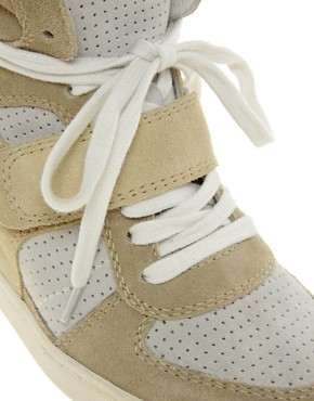 Image 3 ofAsh Cool Suede Colourblock Strapped Wedge Trainers