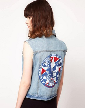 Image 1 of Amplified Lynyrd Skynyrd Sleeveless Denim Jacket