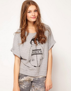 Image 1 ofBrat &amp; Suzie Penguin Short Sleeved Sweat Top