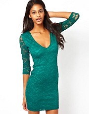 ASOS Mini V Neck Lace Bodycon Dress