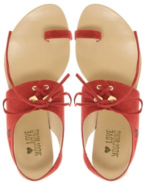 Image 3 ofLove Moschino Tout Le Jour Laced Flat Sandals