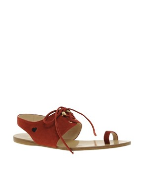 Image 1 ofLove Moschino Tout Le Jour Laced Flat Sandals