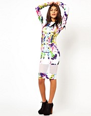 ASOS Mesh Insert Bright Abstract Midi Dress