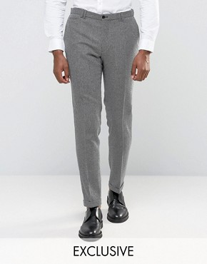 Noak Skinny Smart Trousers With Turn Up In Monochrome Texture