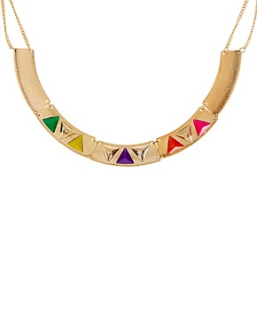 Image 2 ofASOS Articulated Coloured Triangle Collar Necklace
