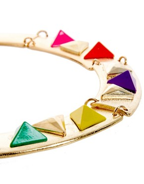 Image 4 ofASOS Articulated Coloured Triangle Collar Necklace