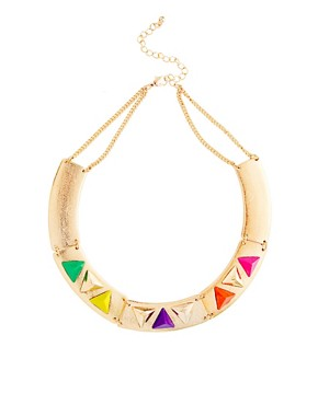Image 1 ofASOS Articulated Coloured Triangle Collar Necklace