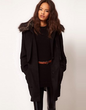 Image 1 ofASOS Fur Collar Oversized Coat