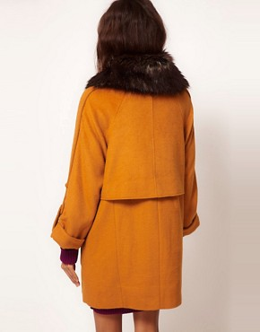 Image 2 ofASOS Fur Collar Oversized Coat