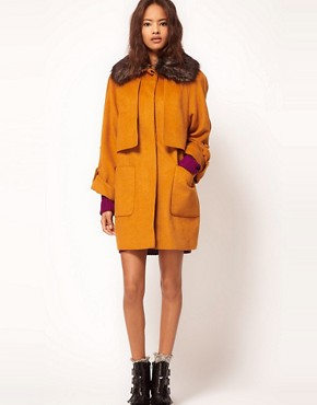 Image 4 ofASOS Fur Collar Oversized Coat