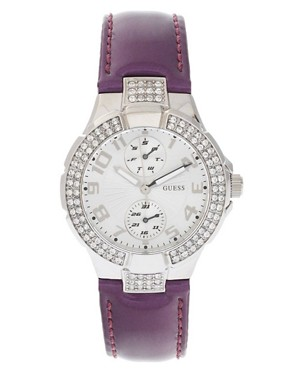 Image 1 ofGuess Mini Prism Watch With Leather Strap