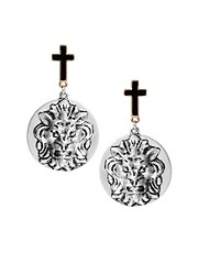 ASOS Cross and Lion Disc Earrings