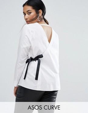 Рубашка с V-образным вырезом спереди и сзади ASOS CURVE - Белый