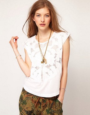 Image 1 ofMaison Scotch White Top With Embroidery