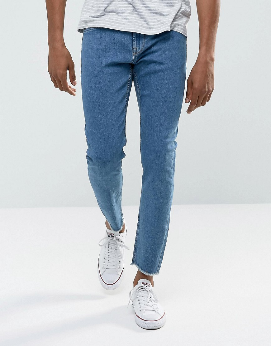 Only & Sons Skinny Jeans with Raw Edge - Light blue denim