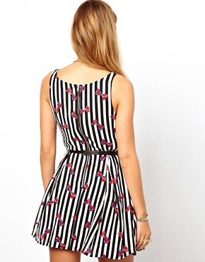 Image 2 ofGlamorous Skater Dress in Striped Bow Print and Belt