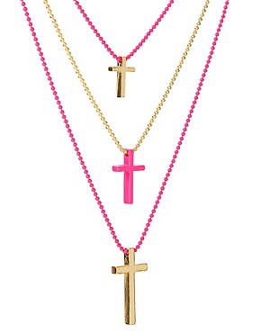 Image 4 ofASOS Multi Row Ditsy Cross Necklace