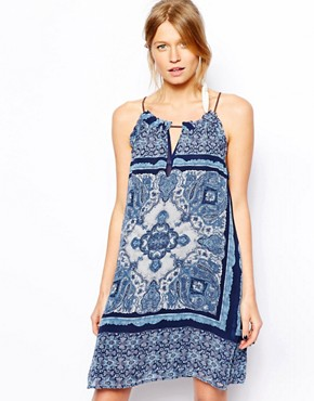 Mango Blue Paisley Print Short Dress