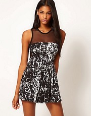 Motel Mandy Foil Print and Mesh Skater Dress