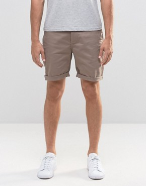 ASOS Slim Chino Shorts in Brown