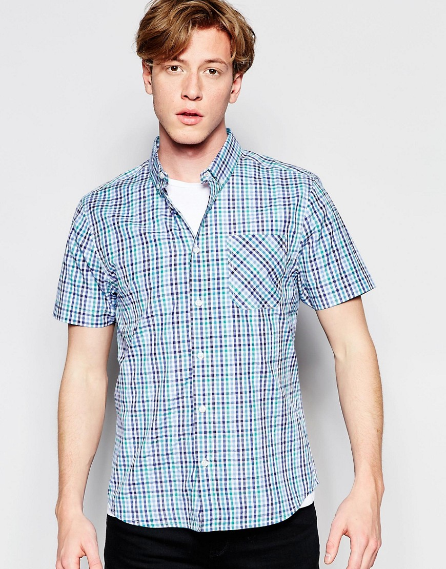 Product photo of Dstruct short sleeve checked shirt blue