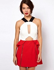 Three Floor Hot Shot Color Block Dress With Zip Detail