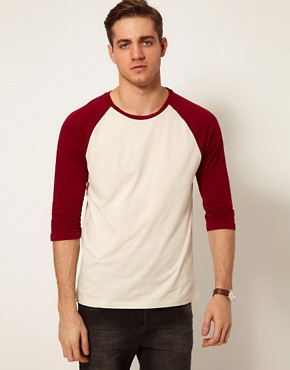 Image 1 ofASOS 3/4 Sleeve T-Shirt With Contrast Raglan Sleeves