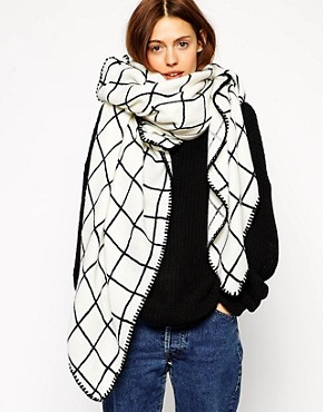 Image 1 of ASOS Oversized Grid Check Square Scarf
