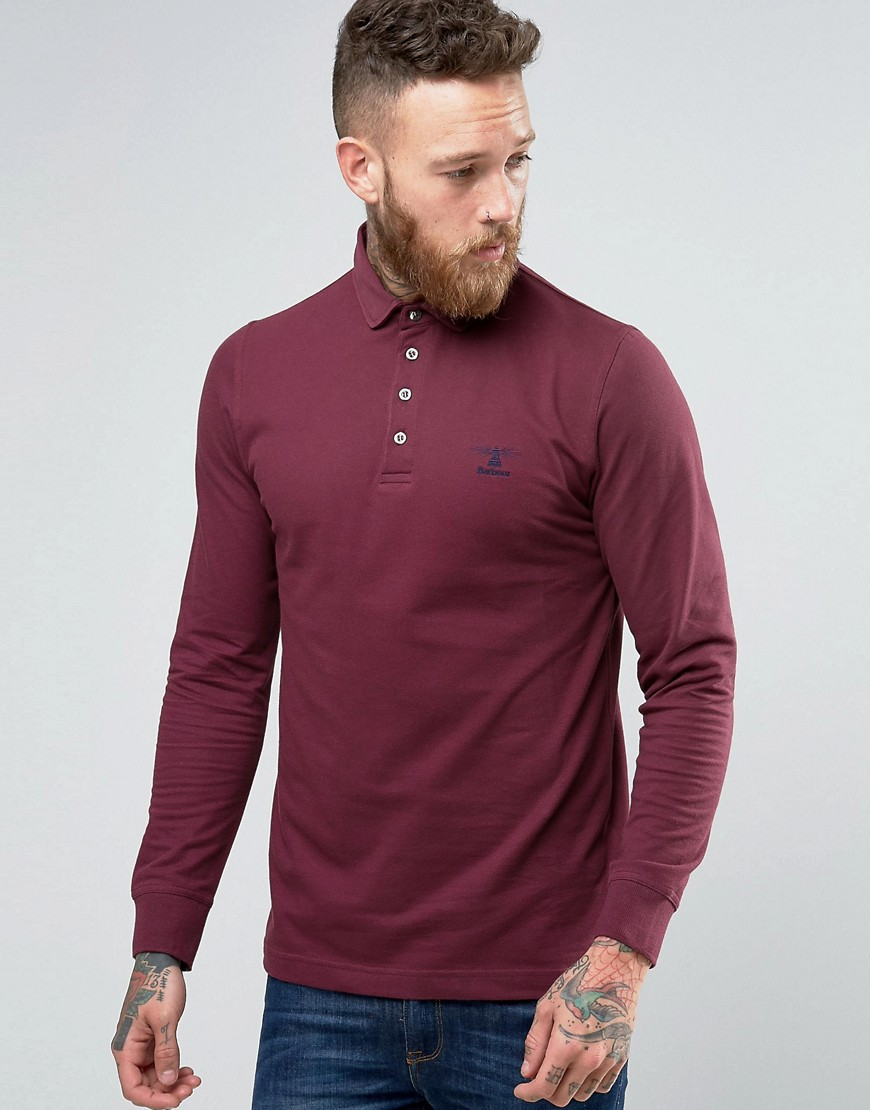 Barbour Polo Shirt With Long Sleeves In Red - Merlot