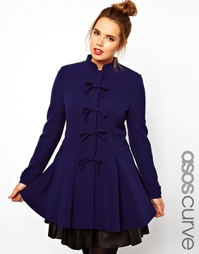 Image 1 ofASOS CURVE Coat With Cute Bow Front