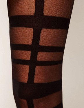 Image 2 ofASOS Grid Strapping Tights