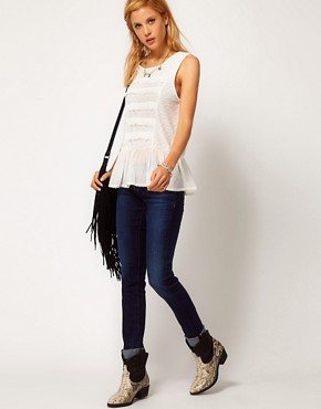Image 4 ofFree People Cotton Sleeveless Blouse with Peplum Detail