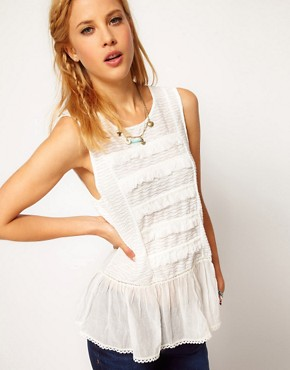 Image 1 ofFree People Cotton Sleeveless Blouse with Peplum Detail