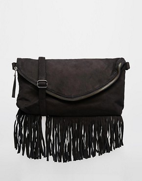 Selected Leather Fringed Across Body Bag