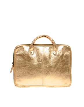 Image 1 ofASOS Leather Metallic Laptop Case