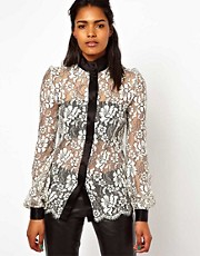 Unconditional Lace Blouse with Heavy Satin Detailing