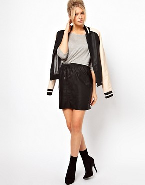 Image 1 ofOasis Leather Look Skirt With Drawstring