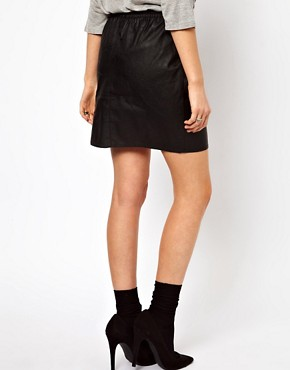 Image 2 ofOasis Leather Look Skirt With Drawstring