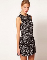 Oasis Drop Waist Embellished Animal Dress