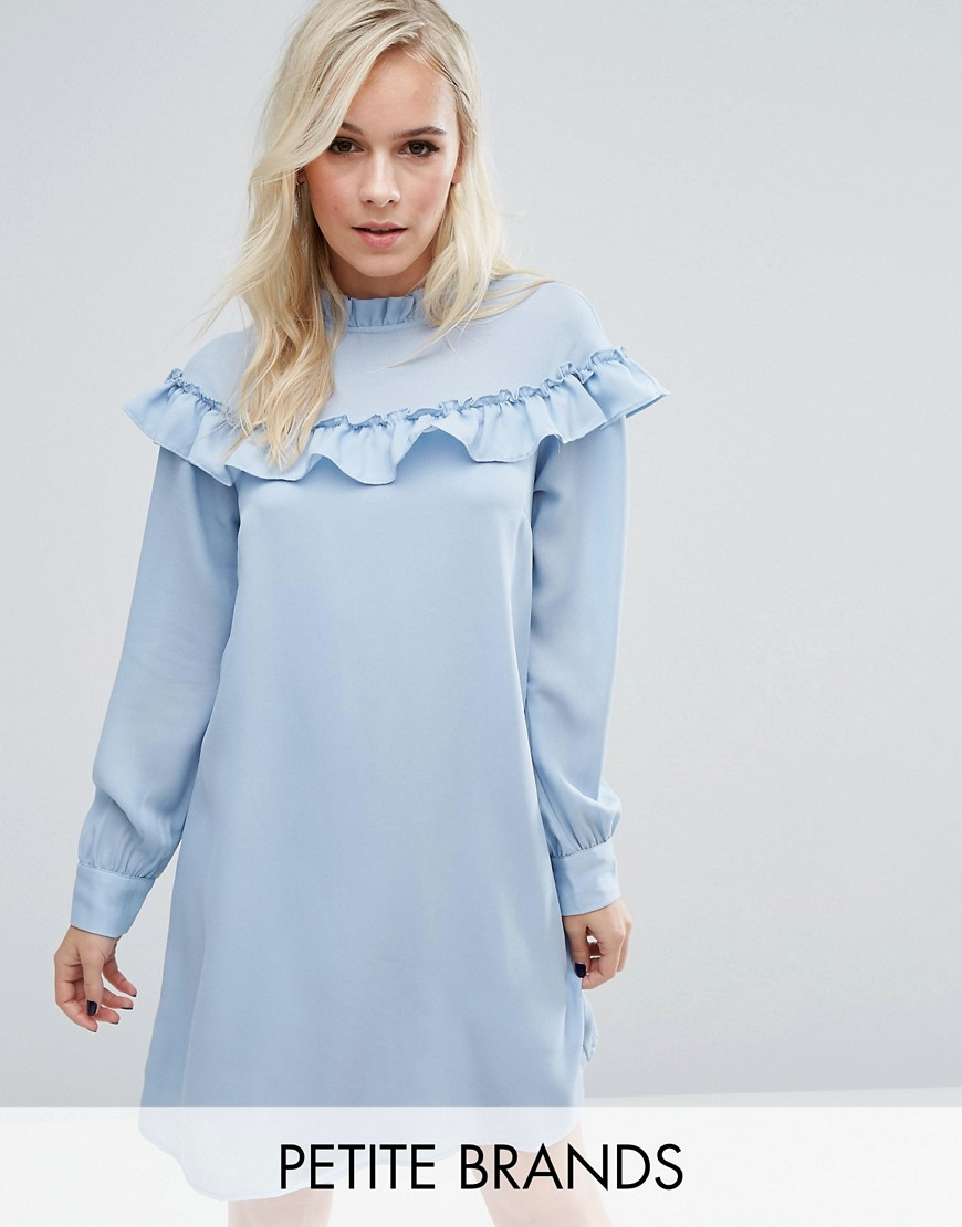 Vero Moda Petite High Neck Ruffle Smock Dress - Blue