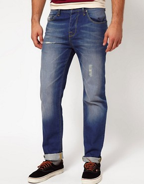 Image 1 ofASOS Straight Jeans With Distressed Effect