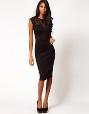 ASOS Midi Bodycon Dress With Lace And Sequin Top