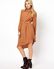 Jovonnista Shirt Dress With Asymetric Hem