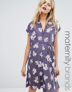New Look Maternity Floral Shirt Dress