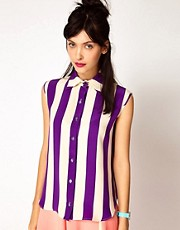 House of Holland Sleeveless Shirt in Silk
