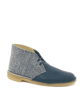 Image 1 ofClarks Originals Harris Tweed Desert Boots