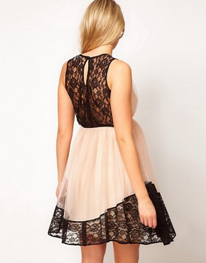 Image 2 ofASOS Maternity Skater Dress In Contrast Lace And Chiffon